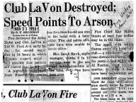 Club LaVon Destroyed; Speed Points to Arson