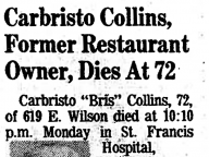 Cabristo Collins, Former Restaurant Owner, Dies at 72
