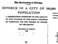 Divorce in a City of 100,000 Population