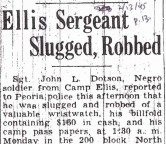 Ellis Sergeant Slugged, Robbed