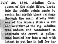 Adaline Cole, Colored Queen of Peoria's Underworld